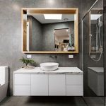Aok kitchen designed vanity units with a mirror