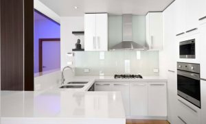 Aok kitchen with white and clean floor and purple light