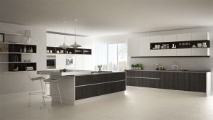 big kitchen with tables in dark color